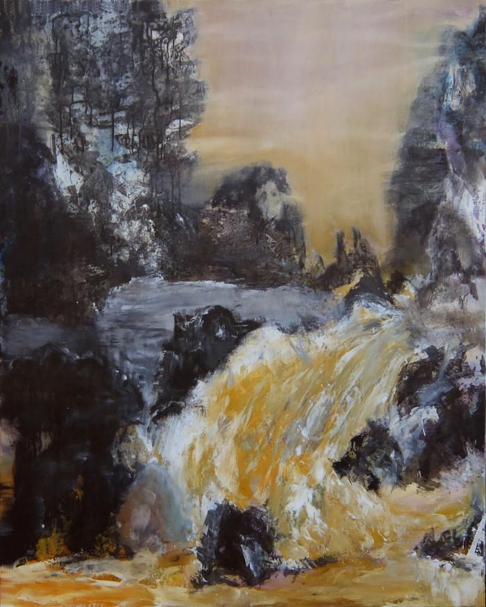 Le maître à la cascade - technique mixte sur toile 150 x 120 – 2015© corinne leforestier