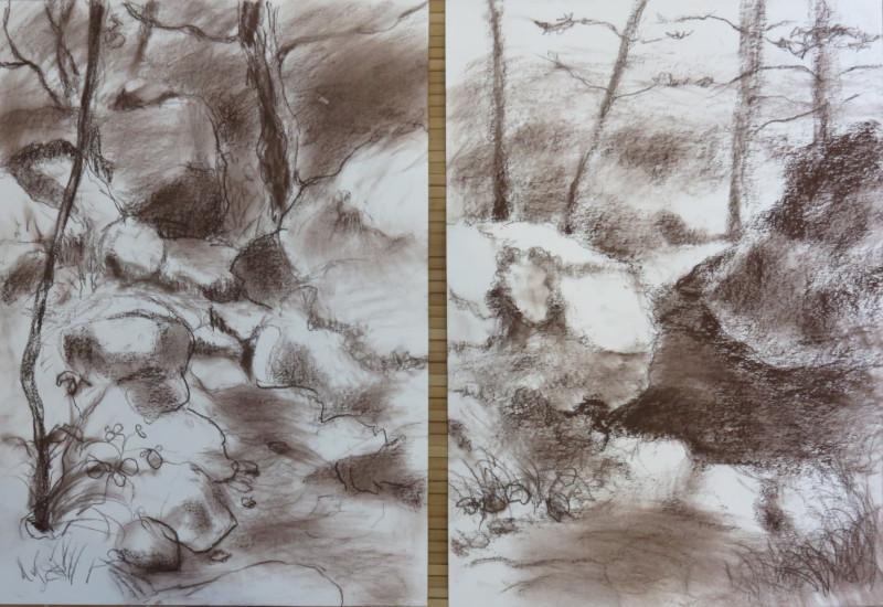 2 croquis A4 verticaux – craie © corinne leforestier