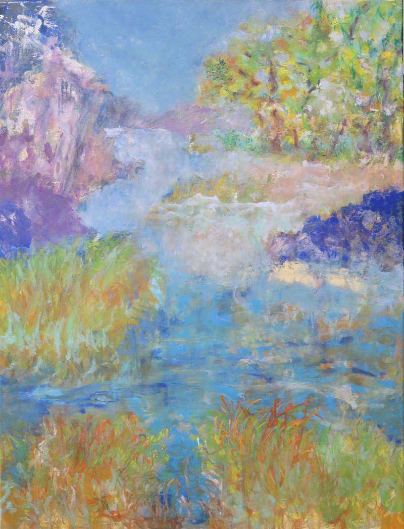 Printemps, ici, ailleurs - technique mixte sur toile 130 x 90 – 2020 © corinne leforestier